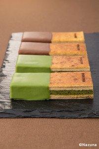 Japanischer Baumkuchen mit Yuzu-Schokolade und Matcha