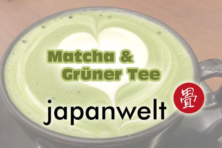 Matcha Tee mit Herz Schaum. Matcha- oder Grüner Tee kaufen bei Japanwelt.